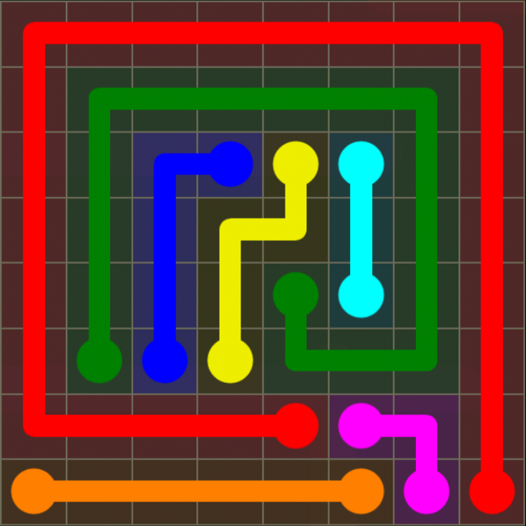Flow Free - 8x8 Mania - Levels 121-150 - Level 142 / Puzzle Game App Solutions / Give Me The Answer