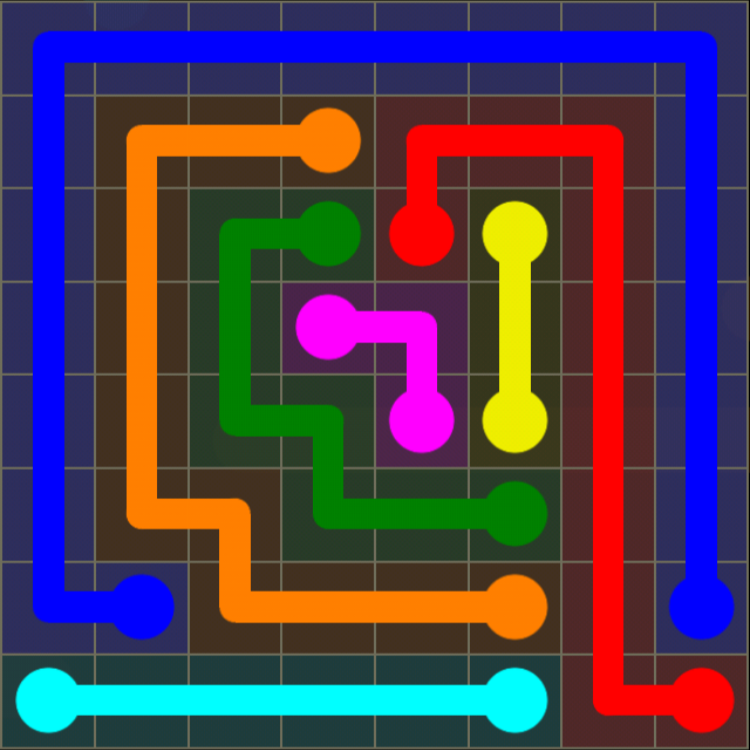 Flow Free - 8x8 Mania - Levels 91-120 - Level 108 / Puzzle Game App Solutions / Give Me The Answer
