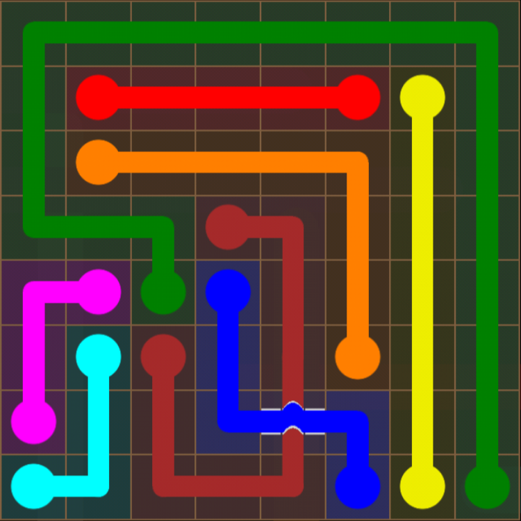 Flow Free - Bridges Sampler - 8x8 - Level 6 / Puzzle Game App Solutions / Give Me The Answer