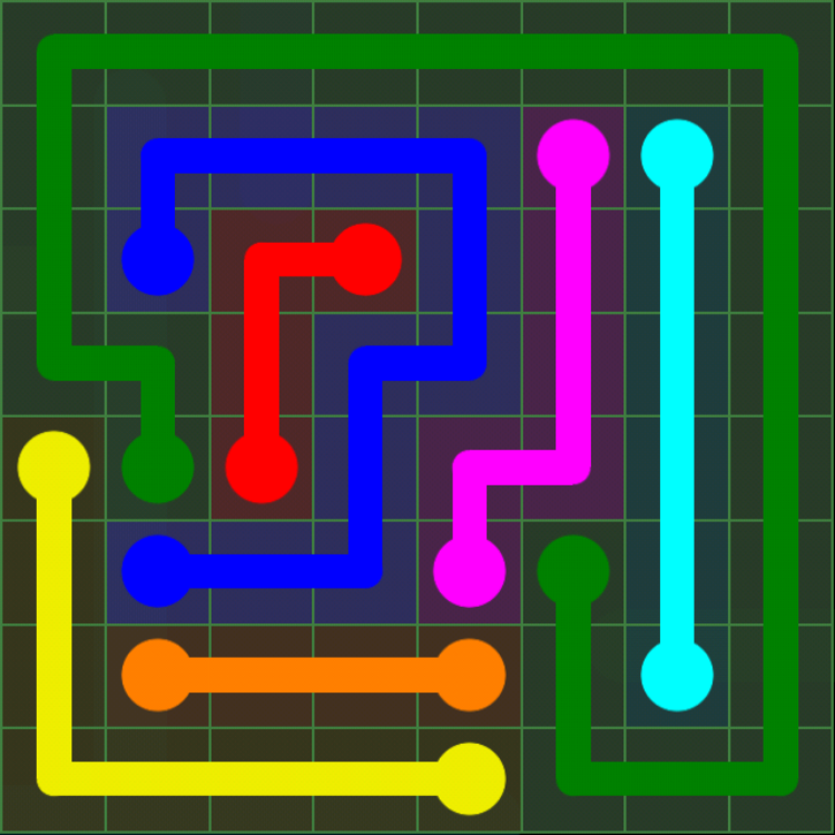 Flow Free - Green Pack - 8x8 - Level 24 / Puzzle Game App Solutions / Give Me The Answer