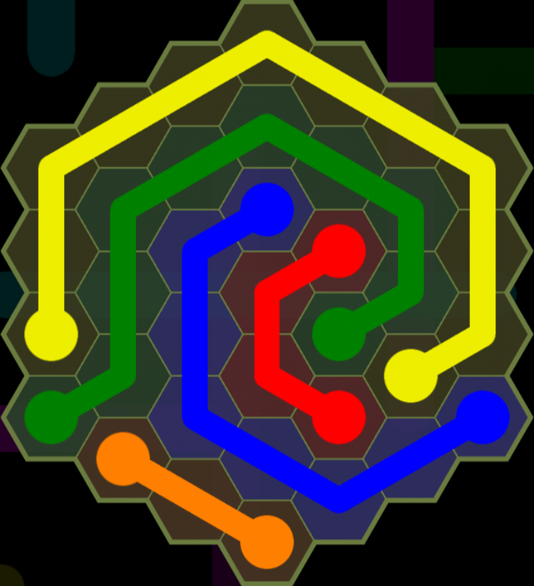 Flow Free - Hexes Sampler - 7x7 Medium - Level 83 / Puzzle Game App Solutions / Give Me The Answer