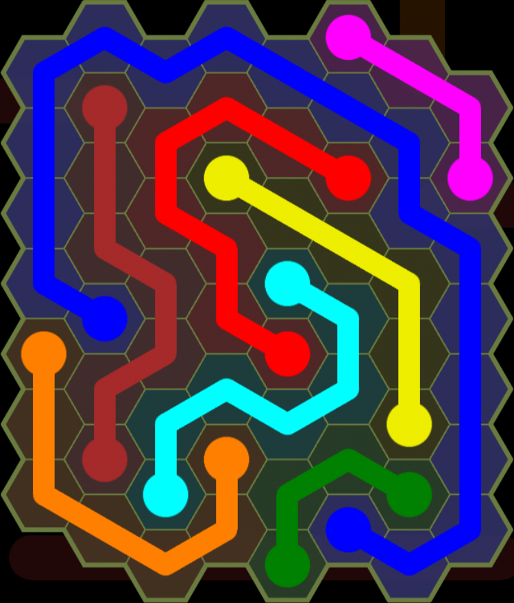 Flow Free - Hexes Sampler - 8x8 - Level 118 / Puzzle Game App Solutions / Give Me The Answer
