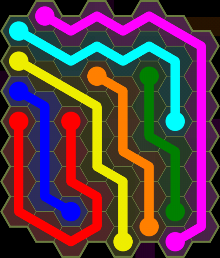Flow Free - Hexes Sampler - 8x8 - Level 91 / Puzzle Game App Solutions / Give Me The Answer
