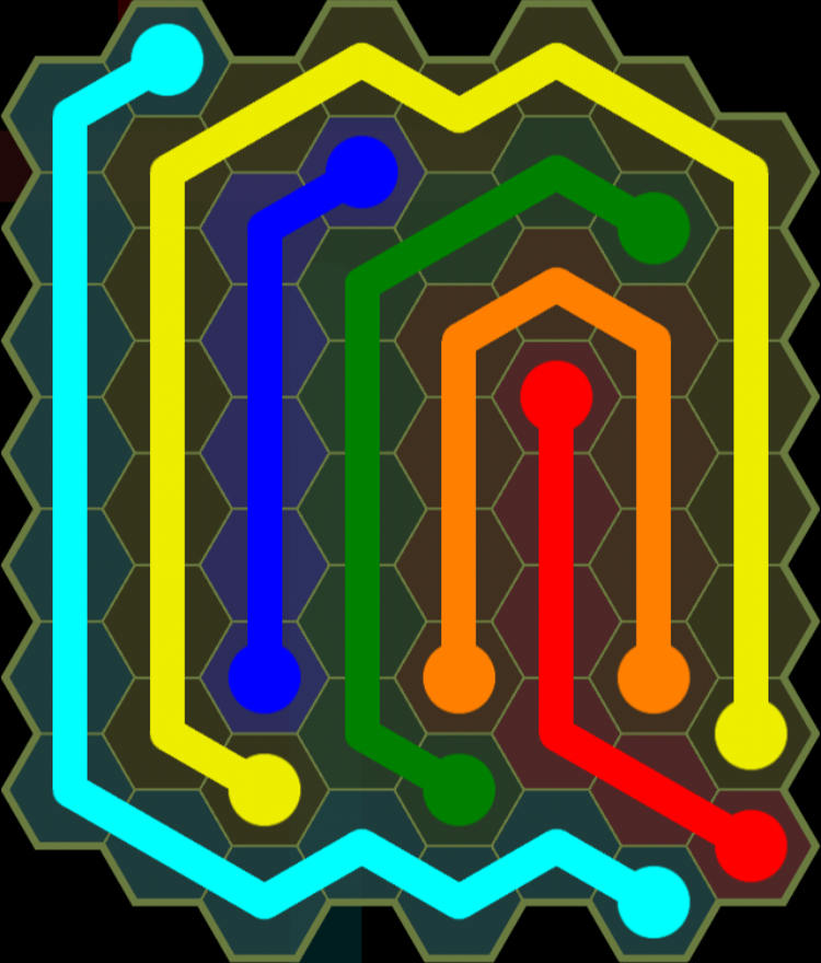 Flow Free - Hexes Sampler - 8x8 - Level 98 / Puzzle Game App Solutions / Give Me The Answer