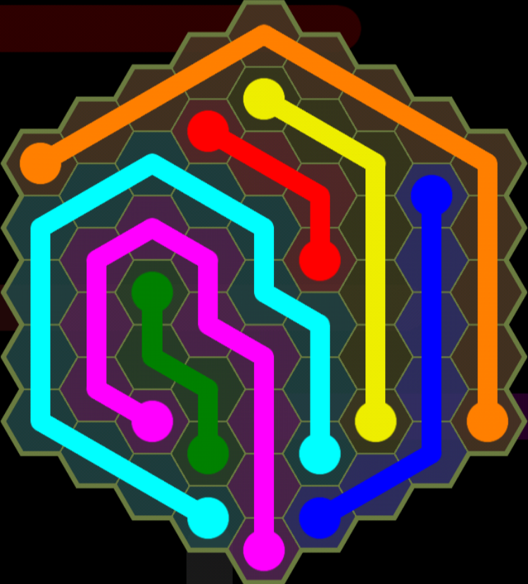 Flow Free - Hexes Sampler - 9x9 Hard - Level 124 / Puzzle Game App Solutions / Give Me The Answer