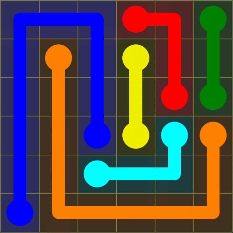 Flow Free - Regular Pack - 6x6 - Level 6 / Puzzle Game App Solutions / Give Me The Answer