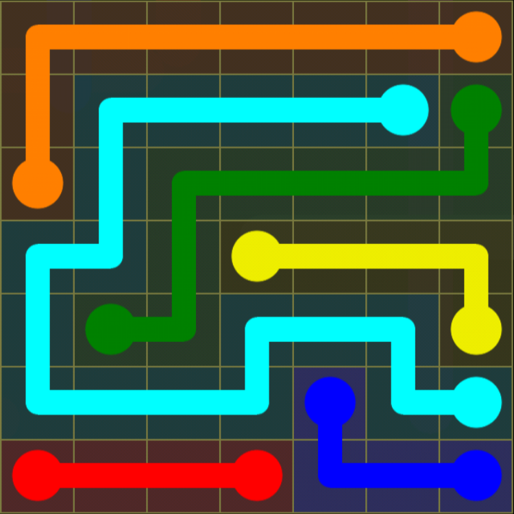 Flow Free - Regular Pack - 7x7 Medium - Level 24 / Puzzle Game App Solutions / Give Me The Answer