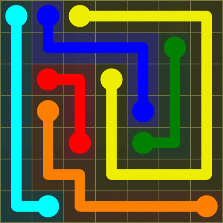 Flow Free - Regular Pack - 7x7 Medium - Level 5 / Puzzle Game App Solutions / Give Me The Answer