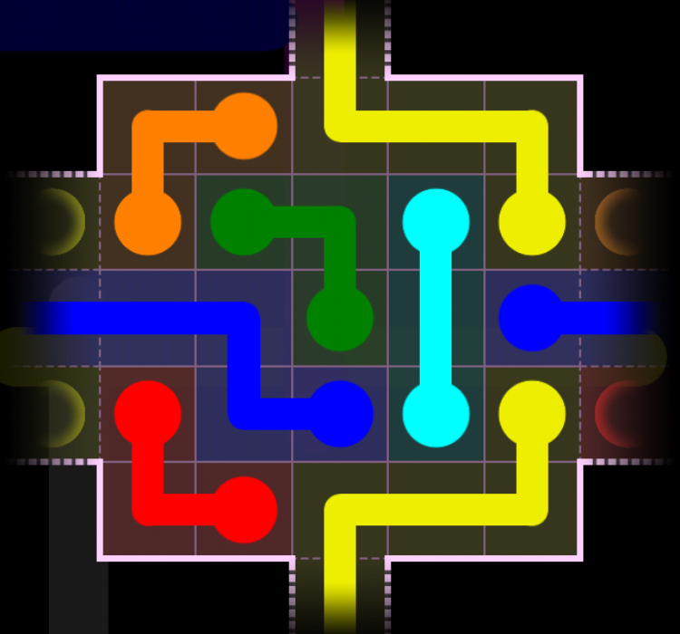 Flow Free - Warps Sampler - 4 Warps - Level 109 / Puzzle Game App Solutions / Give Me The Answer